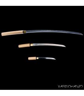 Shirasaya Mifuri | 3 swords set| Shirasaya + Wakizashi + Tanto | Handmade Katana Sword |